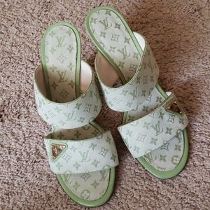 Louis Vuitton retro green high heel slides 37.5